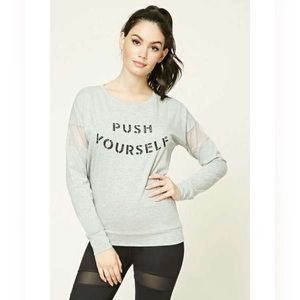 Forever 21 Push Yourself Mesh Workout Shirt
